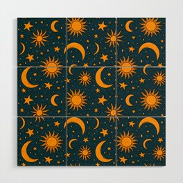 Vintage Sun and Star Print in Navy Wood Wall Art