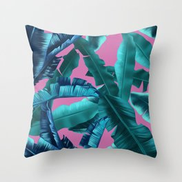 tropical banana leaves pattern pink Throw Pillow