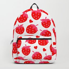 Valentine's Day Bright Red Strawberries and Hearts Pattern Backpack
