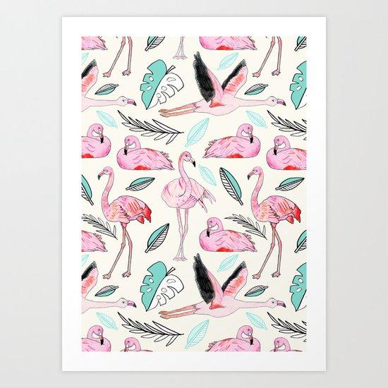 Flamingos Forever Art Print