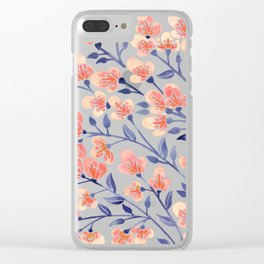 Cherry Blossoms – Peach & Navy Palette Clear iPhone Case