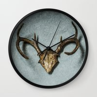 antlers Wall Clocks featuring Antlers by Joyce Vincent
