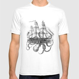 Octopus Kraken attacking Ship Antique Almanac Paper T-shirt