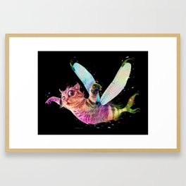 Psychedelic colorful flying catfish Framed Art Print