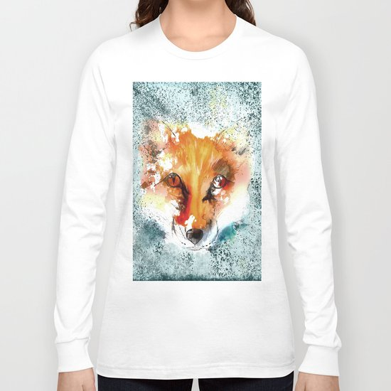 Wild wild Fox - Animal in the forest- watercolor illustration Long Sleeve T-shirt