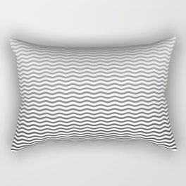 Black And White Fade Ombre Shaded Wave Rectangular Pillow