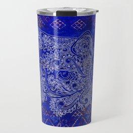 (N20) Tribal Cute Cat Hand Drawing, Traditonal Moroccan Carpet Background Travel Mug