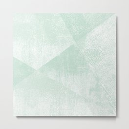 Mint Green and White Geometric Triangles Lino-Textured Print Metal Print