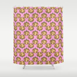 Pastel Pumpkins for Fall - Hand Drawn on Pink Shower Curtain
