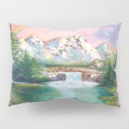 Rainbow in mountains. landscape art Pillow Sham