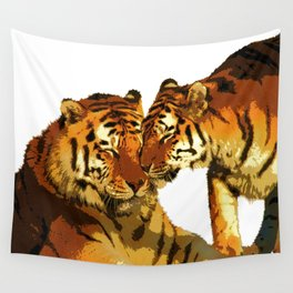 Tigers Love Big Cats Affectionate Bengal Tigers Wall Tapestry