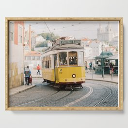 Yellow Tram in Lisbon | Portugal Streetcar Travel Photography | Europe Trolley Serving Tray