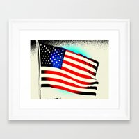 american flag Framed Art Prints featuring American Flag by Jessielee