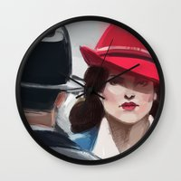 agent carter Wall Clocks featuring Agent Carter by IVIDraws