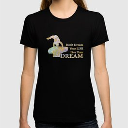 Live Your Dream Gymnastics Design in Watercolor and Gold T-shirt