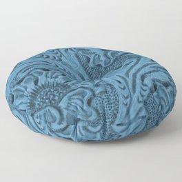 Cornflower Blue Tooled Leather Floor Pillow