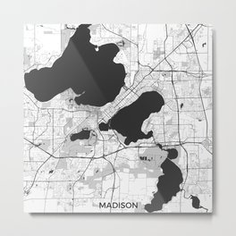 Madison Map Gray Metal Print