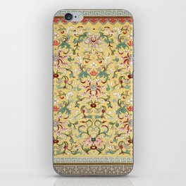 Asian Lotus Flower Pattern in Soft Yellow Antique Illustration iPhone Skin