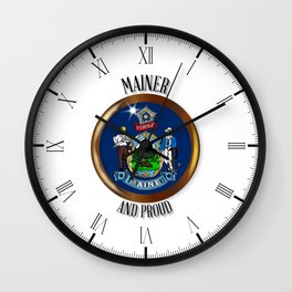Maine Proud Flag Button Wall Clock