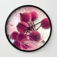 merry christmas Wall Clocks featuring Merry Christmas ! by Françoise Reina