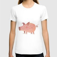 pig T-shirts featuring Pig by Michelle McGaughey