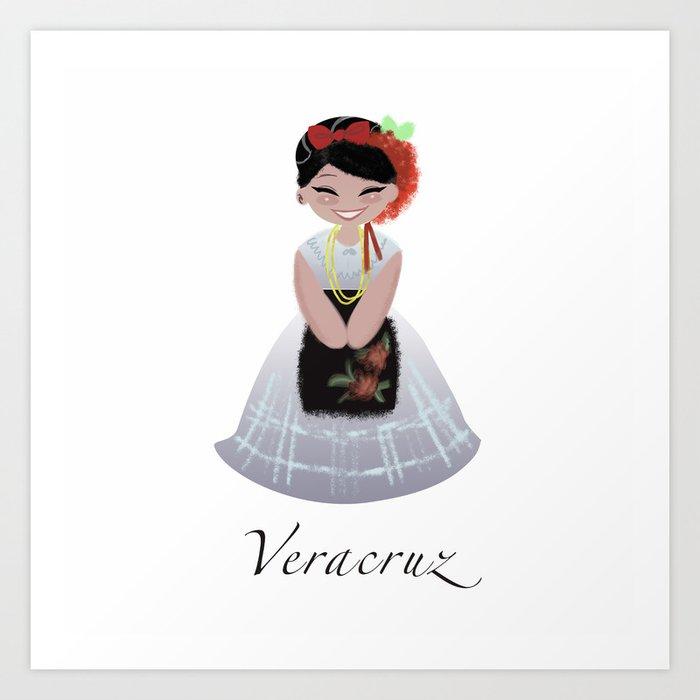 Traje Tipico Veracruz Art Print By Rosaelenadesign