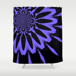 The Modern Flower Black and Periwinkle Purple Shower Curtain