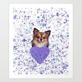 Watercolor Ultra Violet Splattering Dog Lovers Art Print