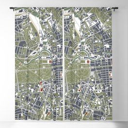 Berlin city map engraving Blackout Curtain