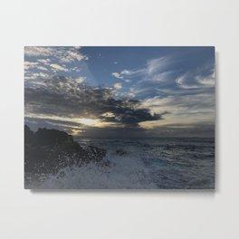 Sunset, Ocean, Wave, Maui Metal Print