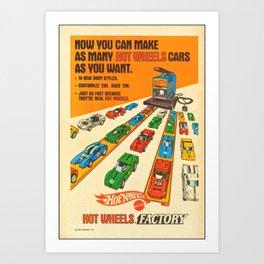 1970 American Issue Vintage Hot Wheels Redline Factory Poster Art Print