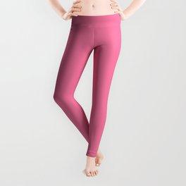 Solid Bright Carnation Pink Color Leggings