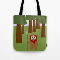 ewok Tote Bags featuring Wicket the Ewok- Tree Hugger by Robin Stevens