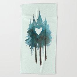Forest Love - heart cutout watercolor artwork Beach Towel