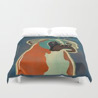 boxer Duvet Covers featuring the boxer by bri.buckley