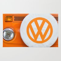 volkswagen Area & Throw Rugs featuring Volkswagen Orange by Alice Gosling
