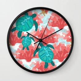 Sea Turtles in The Coral - Ocean Beach Marine Wall Clock