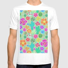 Cactus Festival Party - Green White Mens Fitted Tee MEDIUM
