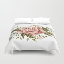 Pink Wild Rose Bouquet Duvet Cover