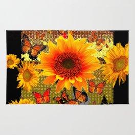 Golden Yellow  Red Sunflowers Black art Butterflies Rug