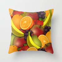 fruit Throw Pillows featuring Fruit by AdamSteve