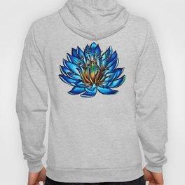 Multi Eyed Blue Water Lily Flower Hoody