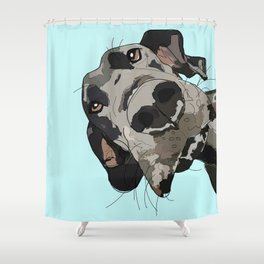 Great Dane in your face (teal) Duschvorhang