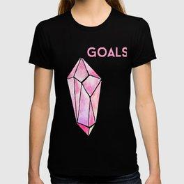 GOALS Watercolor Pink Crystal Minimalist Boss Lady Inspirational Typography Motivational T-shirt