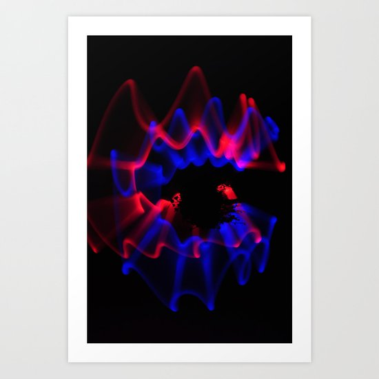 Swirl of Blue & Red Light Art Print