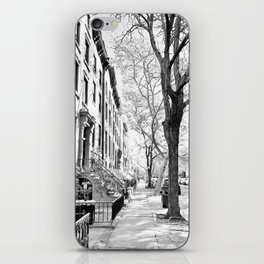 Cobble Hill Brooklyn Winter Black and White Brownstone iPhone Skin