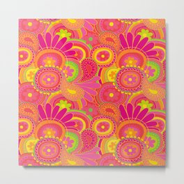 Psychedellic Paisley Orange Metal Print