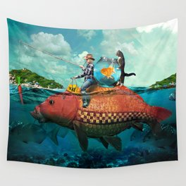 Fish Taxi Wall Tapestry