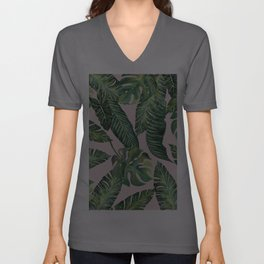 Jungle Leaves, Banana, Monstera Pink #society6 Unisex V-Ausschnitt