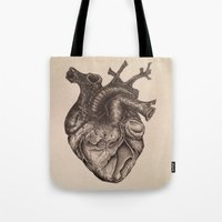 anatomical heart Tote Bags featuring Anatomical Heart by Redmonks